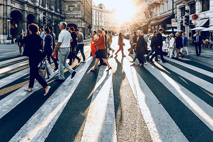 Walking through city street